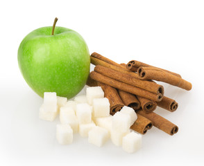 apple, sugar cubes, cinnamon