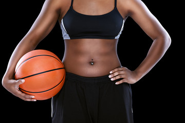 Female  with basketball