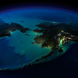 Night Earth. Alaska and the Bering Strait
