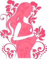 Беременная девушка в цветах