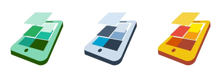 flat design icons - 3D smartphone