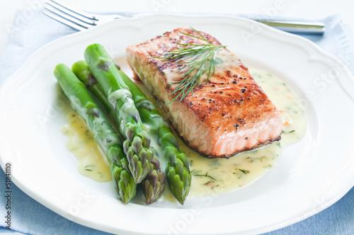 Tuinposter Vis Salmon with Asparagus
