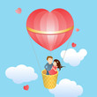 Happy lovers in a balloon