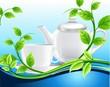 Белый чайник и чашка среди волн