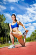 Young athlete woman exercising