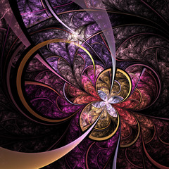 Colorful fractal flower or butterfly, digital artwork