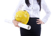 Businesswoman yellow hat and plan