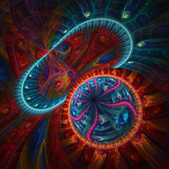 Colorful abstract fractal, digital artwork for graphic design