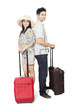 Couple with luggages on white