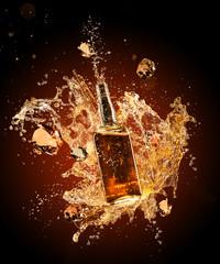 Whiskey splashing around bottler on black background