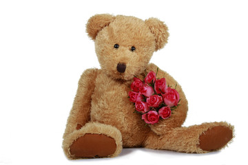 Teddybär mit Rosen - teddybear with roses