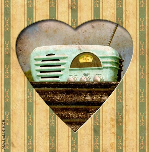 Staande foto Vintage Poster Vintage Heart - Radio