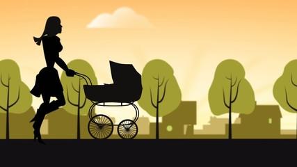 Mutter mit Kind und Kinderwagen