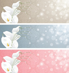 Wedding banners with calla lilies.