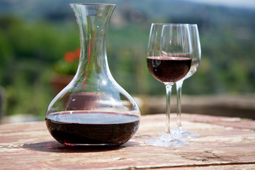 Red wine in a wine carafe and a two wine glasses in vineyard