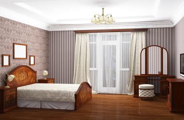 Bedroom, 3D rendering