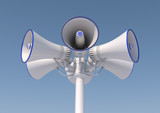 3d render of 6 loudspeakers on a pole.