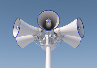 3d render of 6 loudspeakers on a pole.