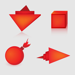 Яркие красный формы для рекламы