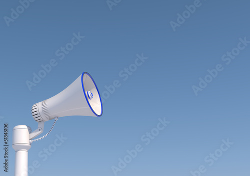 3d render of a loudspeaker in a pole.