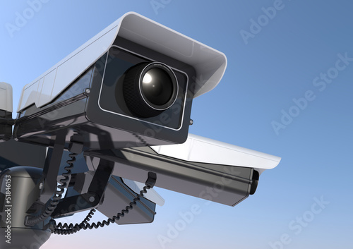 3d render of security cameras on a pole close up.