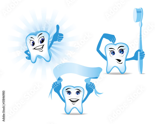 Funny blue Human Teeth