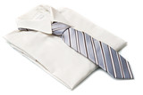 new white shirt with grey tie