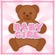 Baby Girl Teddy Bear. Pink polka dot letters, rick rack frame.