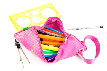 Pink pencil-case on white background