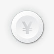 White plastic button with yen sign