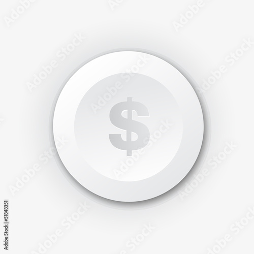 White plastic button with dollar sign