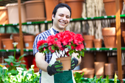 Florist in a greenhouse