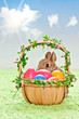 easter bunny with basket and eggs