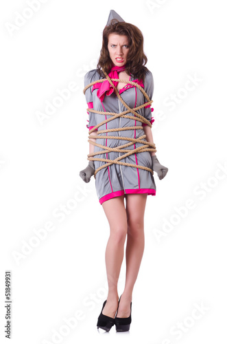 Female stewardess tied with rope