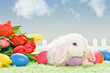 white baby rabbit with flowers and easter eggs