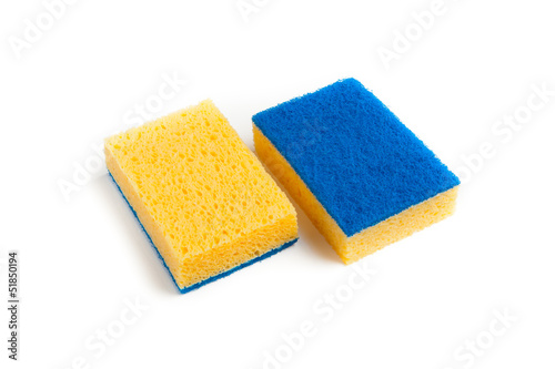 two-sided sponge isolated on white