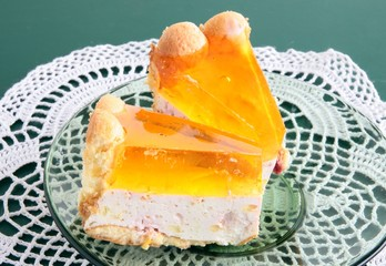 tasty layer-cake with bisquits,cheese and orange gelly