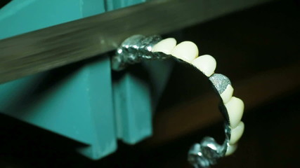 The process of making dental prosthesis. Close-up