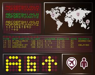Panel de aeropuerto con mapamundi