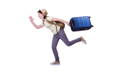 Young woman ready for summer vacation on white
