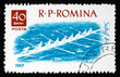 Postage stamp Romania 1962 8-man Shell, Water sport