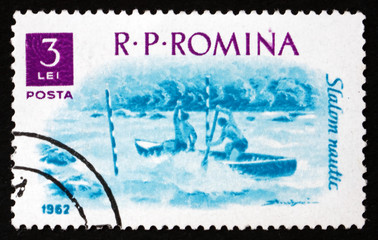 Postage stamp Romania 1962 Water Slalom, Water sport