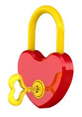 Замок и ключ в виде сердца