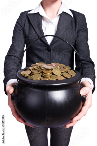 Woman holding pot of gold coins