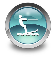 "Light Blue Glossy Pictogram ""Water Skiing"""