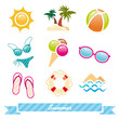 set of colorful summer icon