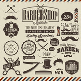 Fototapety Collection of vintage grunge barber shop labels