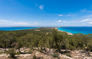 Aerial view Formentera island Ibiza horizon Spain Mediterranean