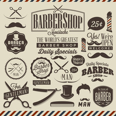 Collection of vintage grunge barber shop labels