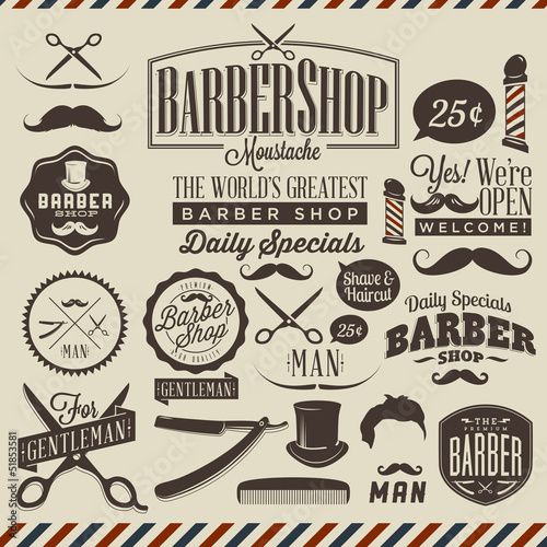 Tuinposter Vintage Poster Collection of vintage grunge barber shop labels